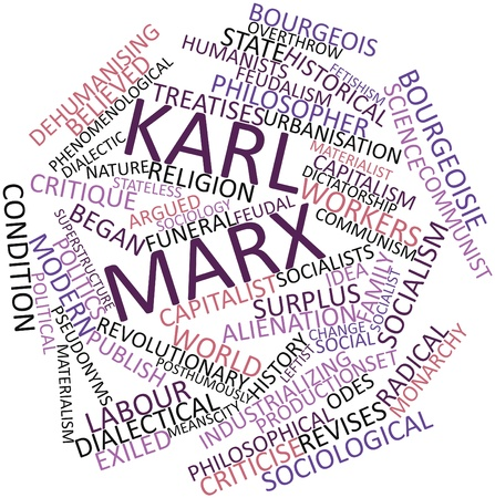 sociology: Abstract word cloud for Karl Marx with related tags and terms