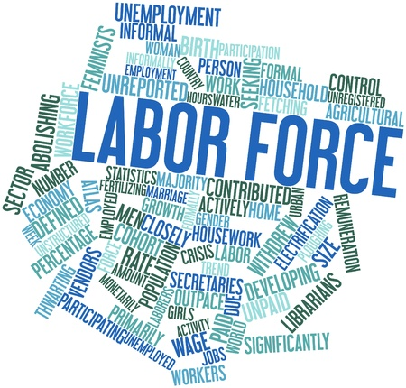 unpaid: Abstract word cloud for Labor force with related tags and terms