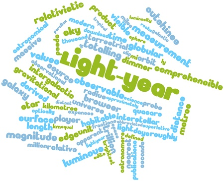 Abstract word cloud for Light-year with related tags and terms Stock Photo - 16527529