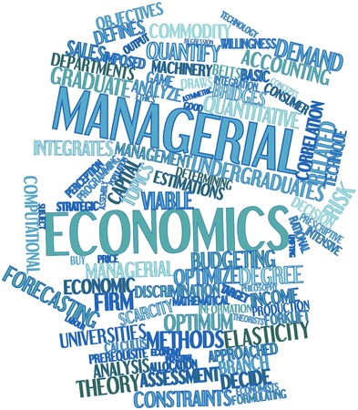 constraints: Abstract word cloud for Managerial economics with related tags and terms Stock Photo