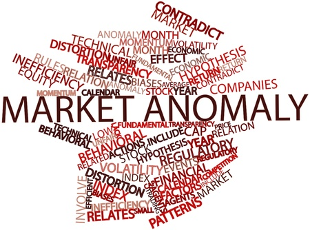 stock market return: Abstract word cloud for Market anomaly with related tags and terms Stock Photo