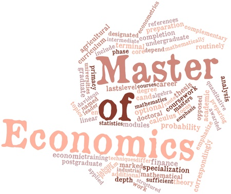 depend: Abstract word cloud for Master of Economics with related tags and terms