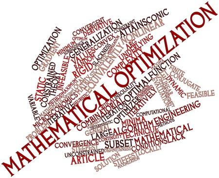 feasible: Abstract word cloud for Mathematical optimization with related tags and terms Stock Photo