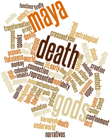 narratives: Abstract word cloud for Maya death gods with related tags and terms