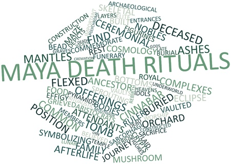 Abstract word cloud for Maya death rituals with related tags and terms Stock Photo - 16528123