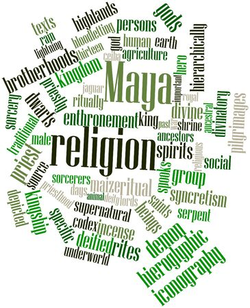 maya religion: Abstract word cloud for Maya religion with related tags and terms