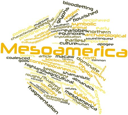 prominence: Abstract word cloud for Mesoamerica with related tags and terms Stock Photo