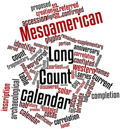 関連するタグと用語とメソアメリカのロング カウント カレンダーの抽象的な単語雲