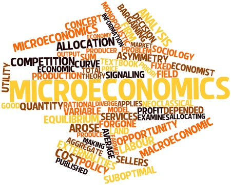 implications: Abstract word cloud for Microeconomics with related tags and terms