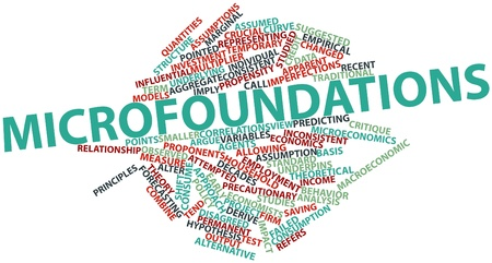 derive: Abstract word cloud for Microfoundations with related tags and terms Stock Photo