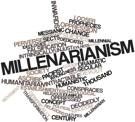 intervention: Abstract word cloud for Millenarianism with related tags and terms