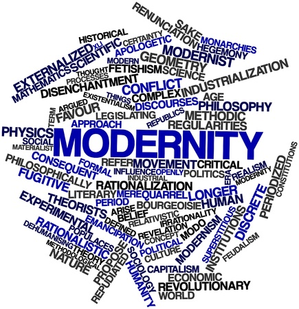 feudalism: Abstract word cloud for Modernity with related tags and terms