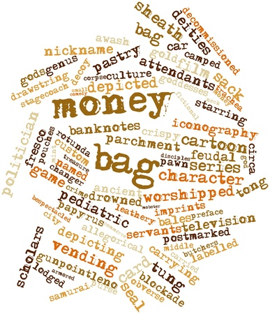 named person: Abstract word cloud for Money bag with related tags and terms