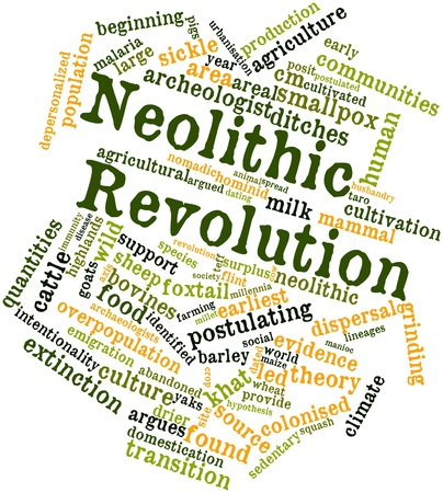 overpopulation: Abstract word cloud for Neolithic Revolution with related tags and terms