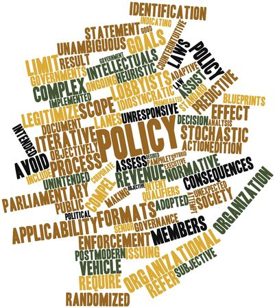 enforcement: Abstract word cloud for Policy with related tags and terms