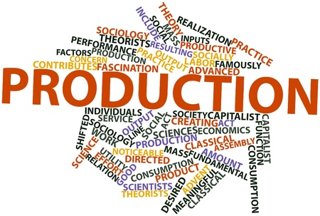 contributes: Abstract word cloud for Production with related tags and terms Stock Photo
