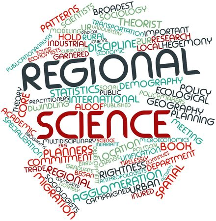 rightness: Abstract word cloud for Regional science with related tags and terms Stock Photo