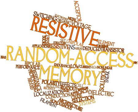 resistive: Abstract word cloud for Resistive random-access memory with related tags and terms
