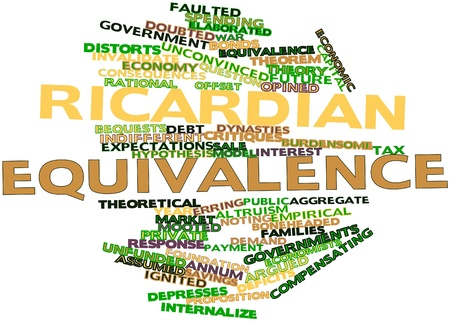 Abstract word cloud for Ricardian equivalence with related tags and terms Stock Photo - 16528321