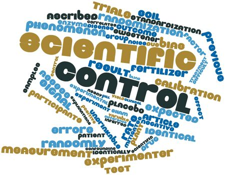 assigning: Abstract word cloud for Scientific control with related tags and terms Stock Photo