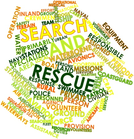 Abstract word cloud for Search and rescue with related tags and terms Stock Photo - 16530842