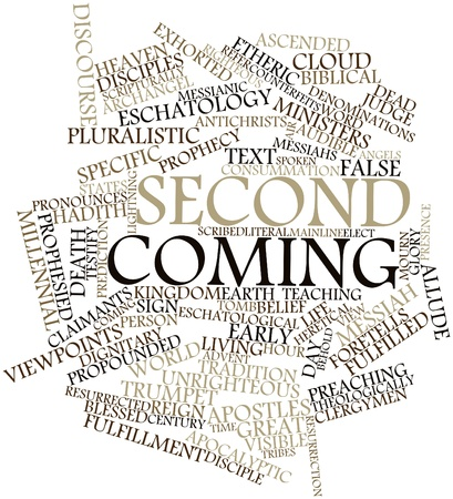 Abstract word cloud for Second Coming with related tags and terms Stock Photo - 16530075