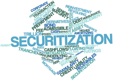 mitigated: Abstract word cloud for Securitization with related tags and terms Stock Photo