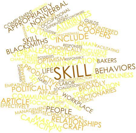 relaciones laborales: Nube palabra abstracta por habilidad con las etiquetas y términos relacionados Foto de archivo