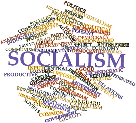 materialist: Abstract word cloud for Socialism with related tags and terms Stock Photo