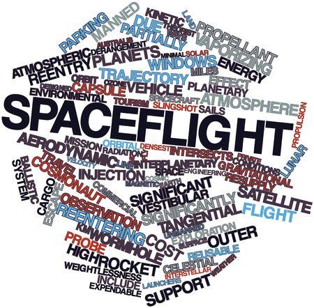 radiacion solar: Nube palabra abstracta para Vuelos Espaciales con las etiquetas y términos relacionados