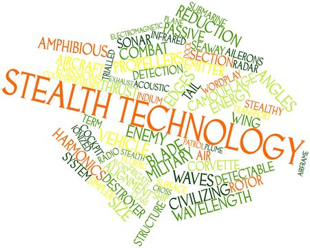 countermeasures: Abstract word cloud for Stealth technology with related tags and terms Stock Photo