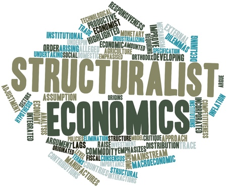 macroeconomic: Abstract word cloud for Structuralist economics with related tags and terms Stock Photo