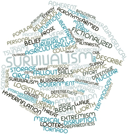 miscreant: Abstract word cloud for Survivalism with related tags and terms