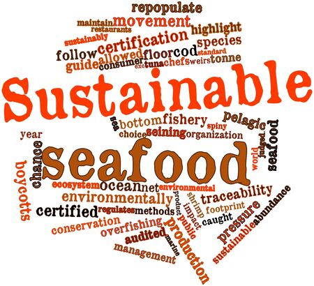 environmental awareness: Abstract word cloud for Sustainable seafood with related tags and terms