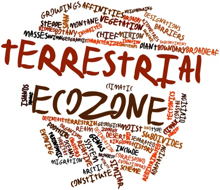 species plate: Abstract word cloud for Terrestrial ecozone with related tags and terms