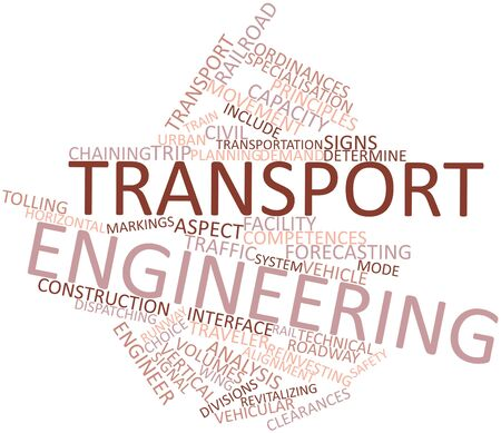 competences: Abstract word cloud for Transport engineering with related tags and terms