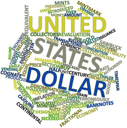 thaler: Abstract word cloud for United States dollar with related tags and terms