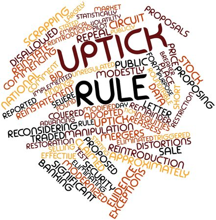 roundtable: Abstract word cloud for Uptick rule with related tags and terms