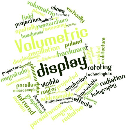 technologists: Abstract word cloud for Volumetric display with related tags and terms Stock Photo