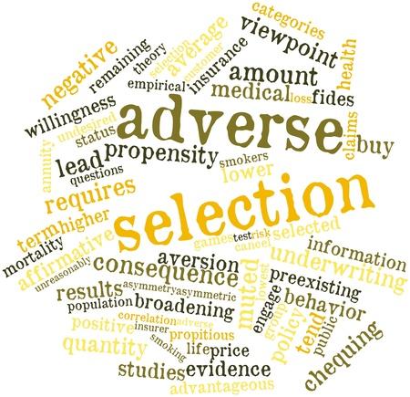 selects: Word cloud astratto per la selezione avversa con tag correlati e termini