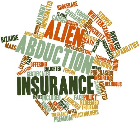 launched: Abstract word cloud for Alien abduction insurance with related tags and terms Stock Photo