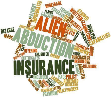 impregnated: Word cloud astratto per l'assicurazione dei rapimenti alieni con tag correlati e termini