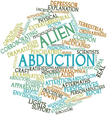 motivations: Abstract word cloud for Alien abduction with related tags and terms Stock Photo