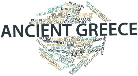 peculiarities: Abstract word cloud for Ancient Greece with related tags and terms