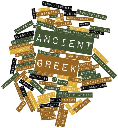 contemporaneous: Abstract word cloud for Ancient Greek with related tags and terms