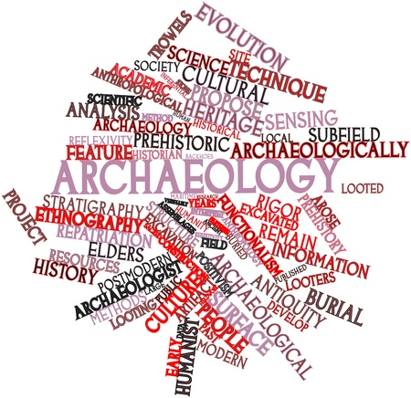 anthropological: Abstract word cloud for Archaeology with related tags and terms Stock Photo