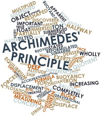principle: Abstract word cloud for Archimedes principle with related tags and terms Stock Photo