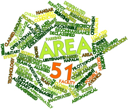 area 51: Abstract word cloud for Area 51 with related tags and terms Stock Photo