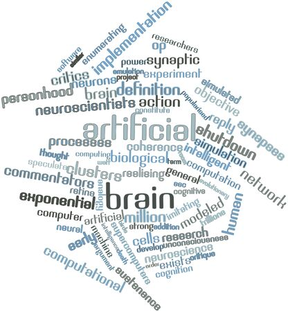 neural: Abstract word cloud for Artificial brain with related tags and terms Stock Photo