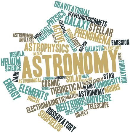 wavelengths: Abstract word cloud for Astronomy with related tags and terms Stock Photo